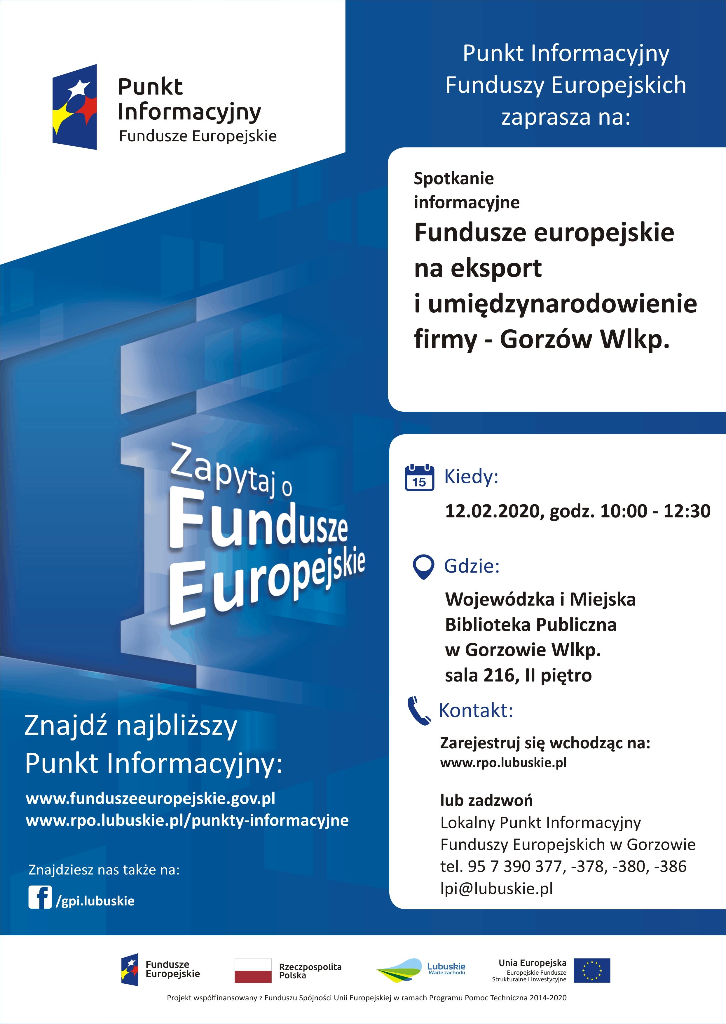Ilustracja do informacji: Fundusze europejskie na eksport i umiędzynarodowienie firmy - spotkanie w Gorzowie Wlkp. 12.02.2020 r.