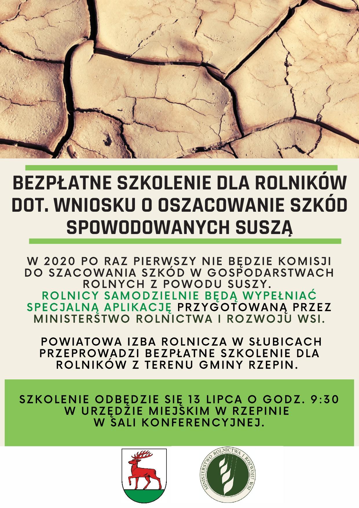 Ilustracja do informacji: Bezpłatne szkolenia dla rolników dot. wniosków o oszacowanie szkód spowodowanych suszą