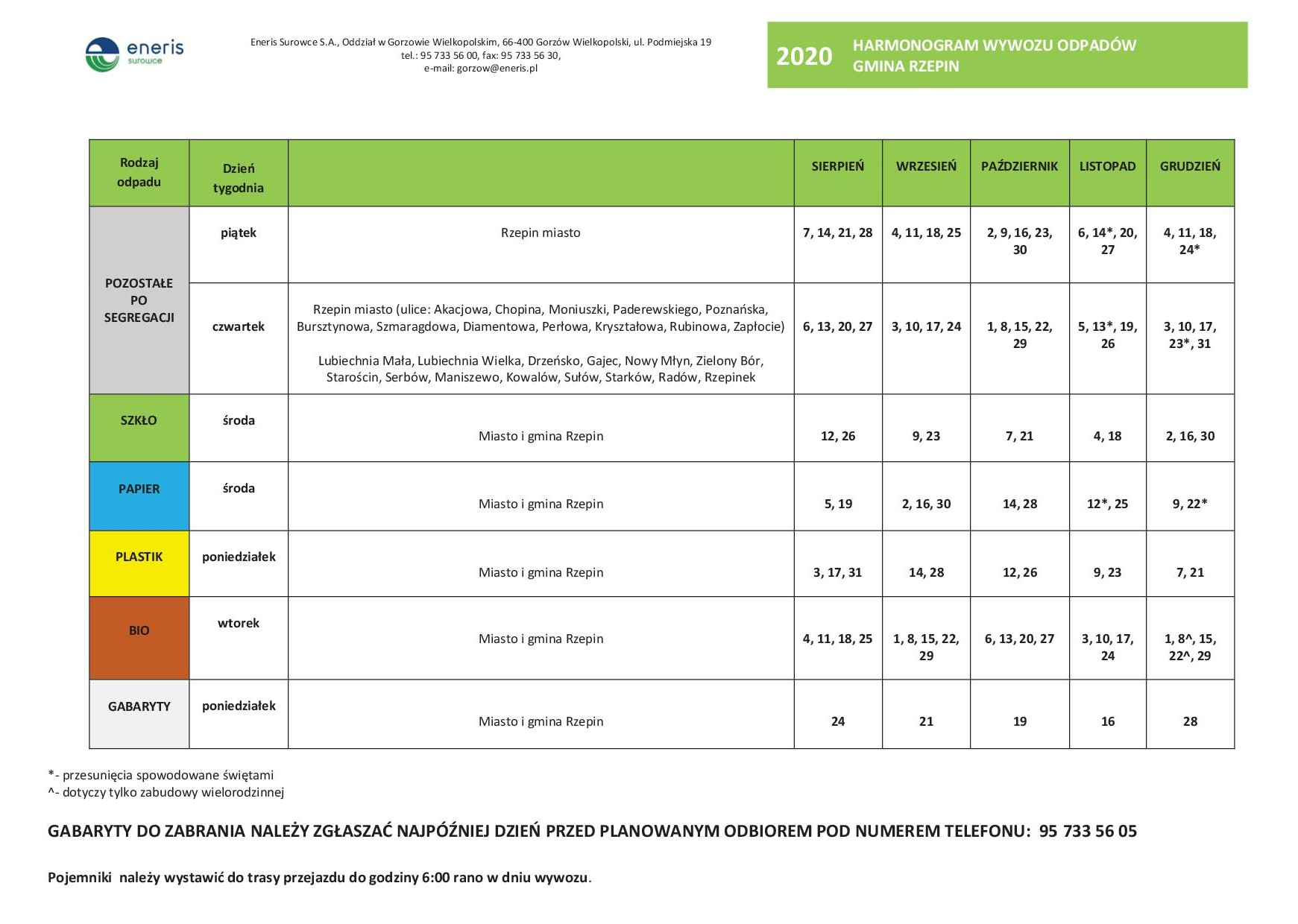 Ilustracja do informacji: Nowy Harmonogram odbioru odpadów komunalnych obowiązujący od sierpnia 2020 r.
