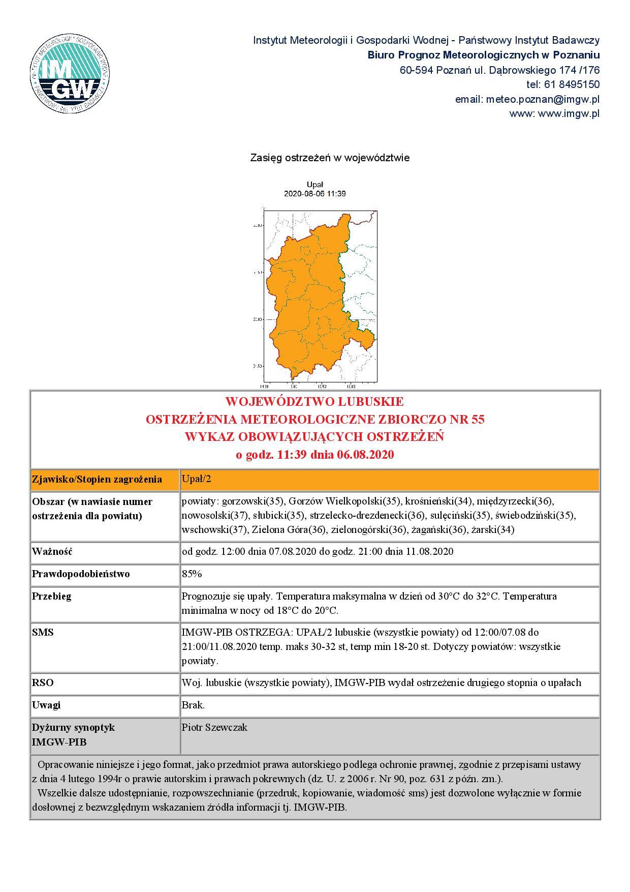 Ilustracja do informacji: Ostrzeżenie meteorologiczne - upały!!