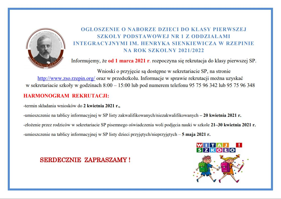 Ilustracja do informacji: Ogłoszenie o naborze dzieci do klasy pierwszej Szkoły Podstawowej nr 1 w Rzepinie.