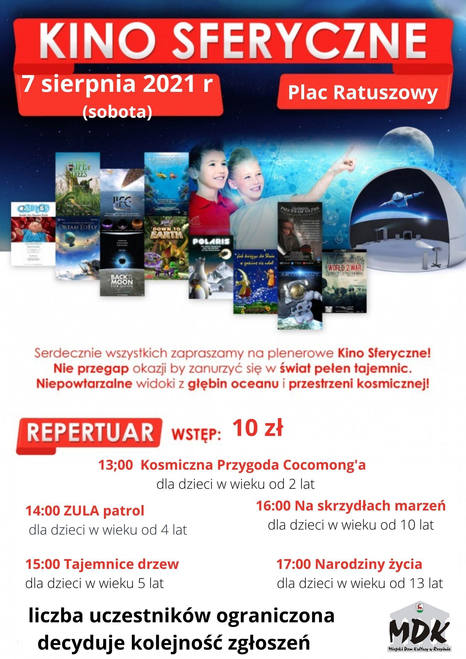 Ilustracja do informacji: Miejski Dom Kultury w Rzepinie zaprasza na plenerowe kino sferyczne!