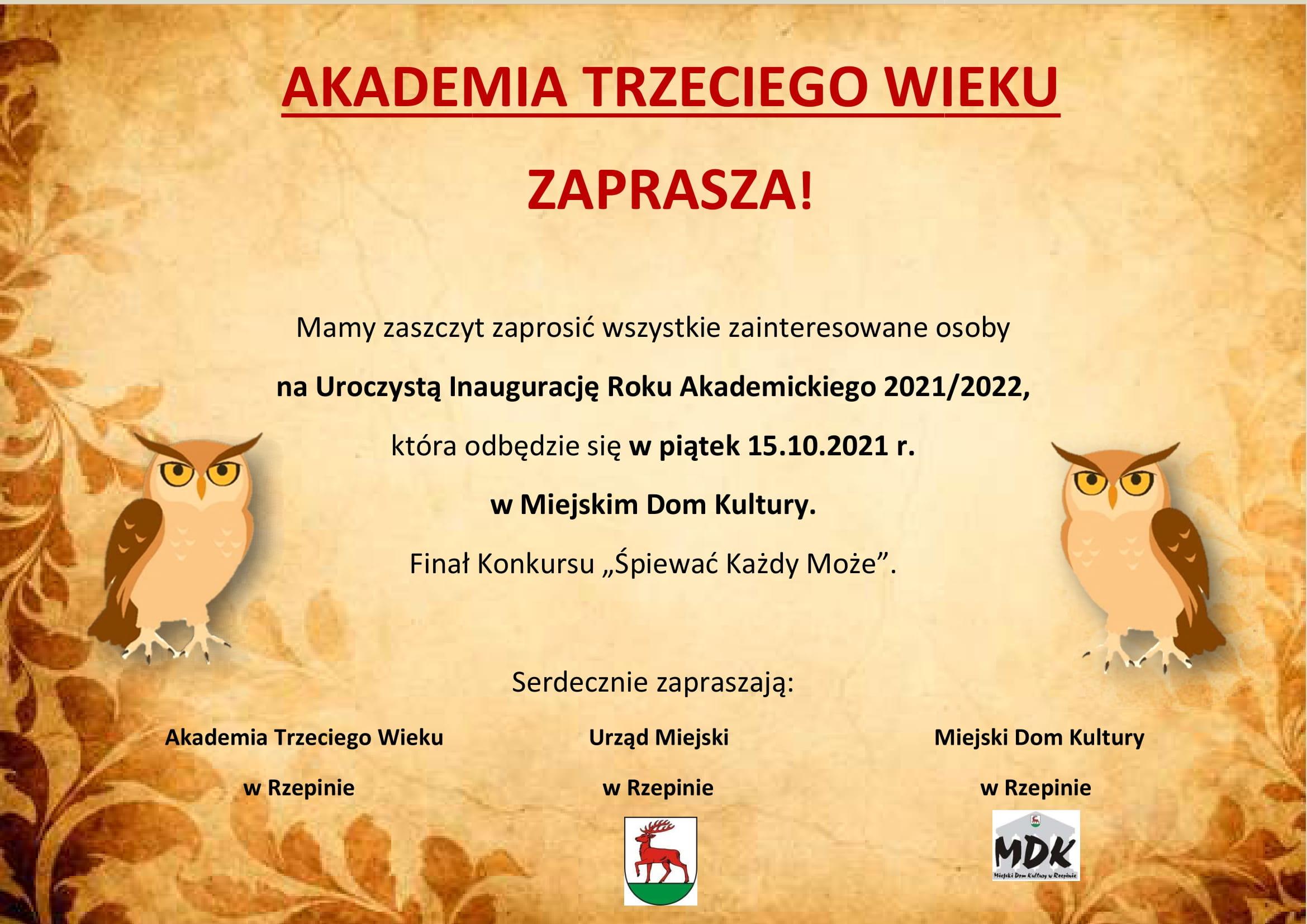 Ilustracja do informacji: Akademia Trzeciego Wieku zaprasza na uroczystą inaugurację roku akademickiego!
